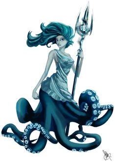 """Inspiration for """"Lorelei"""" Painting  Sea-Witch. Sea witch with an awesome dress and trident."""