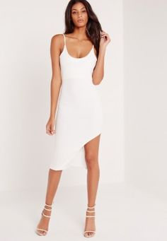 Strap Hem Detail Mini Dress White