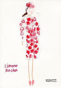 Miyuki Ohashi fashion illustration, Simone Rocha / Spring 2015 RTW