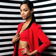 OCEAN DRIVE magazine, December 2013 issue, ZOE SALDANA featured wearing sexy red neoprene suit with triangle bra from Resort 14 look 24 Zoe Saldana, Manicure E Pedicure, White Fashion, Aaliyah, Hollywood Actresses, American Actress, Chic Outfits, Beautiful People, Beautiful Women