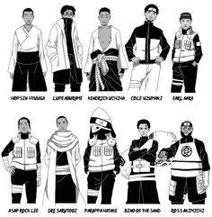 naruto hip hop crossover by dotnova Black Cartoon Characters, Naruto Oc Characters, Dope Cartoon Art, Dope Cartoons, Cowboy Bebop, Blue Exorcist, Character Art, Character Design, Character Inspiration