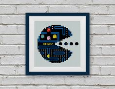 BOGO FREE! PacMan Video Game, Cross Stitch Pattern, Vintage Pac Man Video Game Needlecraft Embroidery Needlework PDF Instant Download #010-2 by StitchLine on Etsy
