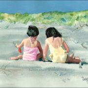 judith stein watercolors | Judith Stein Watercolors - Children on the Beach