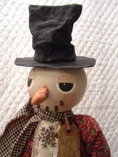 PRIMITIVE SNOWMAN with rusty snowflake by yellowsweetpotato, $34.95