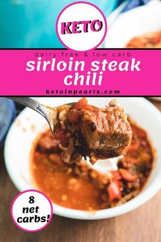 Enjoy this delicious chili, it's healthy! This meaty, bean-free low carb chili is made with sirloin steak and ground beef. This keto steak chili is rich and flavorful. You can also make this recipe dairy-free, paleo, and Whole 30! Serve this delicious main dish with a piece of low carb cornbread for a hearty, low carb meal. #keto #ketorecipes #maindish #beefrecipes #ketochili #lowcarb #healthy #recipes #chili #food Low Carb Chili, Low Carb Keto, Beef Recipes, Low Carb Recipes, Chili Without Beans, Fire Roasted Tomatoes, Keto Soup, Sirloin Steaks, Dairy Free