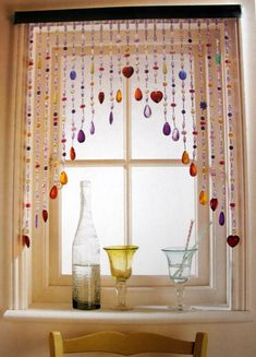 A more creative window dressing idea. Would look fantastic in the right setting. Beaded Curtains, Window Curtains, Curtain Valances, Drawing Room Furniture, Photo Deco, Diy Wind Chimes, Boho Decor, Door Beads, Hanging Crystals