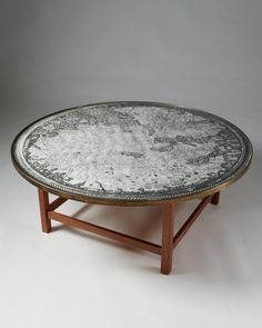 Josef Frank; Mahogany, Glass, Paper Map and Brass Coffee Table for Svensk Tenn, 1950s.