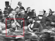 Prologue: Pieces of History » Rare photo of Lincoln at Gettysburg. Great detail zoomed in close of the only known photograph taken of Lincoln at Gettysburg from a long distance away. Outstanding detail.