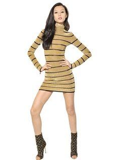 Striped Lurex Viscose Knit Dress - Lyst