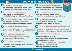 What is a comma? Learn useful comma rules and how to use commas in English with example sentences and ESL worksheet. English Grammar Rules, English Grammar Worksheets, English Writing, English Words, English Vocabulary, Spanish Grammar, Teaching Spanish, Writing Skills, Writing Tips