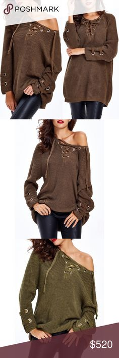 "Coming Soon!! Lace Up Criss Cross Long Sweater Brand new, loose lace up criss-cross long sweater. This listing is for DARK BROWN. One size fits most  One size fits most Length 26.8"" / Sleeve Length 23.6""   Bundle and save! 💰10% off the purchase of 2 items 💰💰 15% off the purchase of 3+ items   ❓Questions? Please reach out and ask - I'm here to help 😊 Sweaters V-Necks"