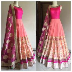 Net Machine Work Pink Semi Stitched Long Anarkali Suit - 122