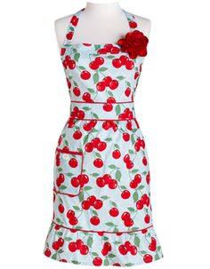 Kitchen Cherry Courtney Full Apron with Red Flower