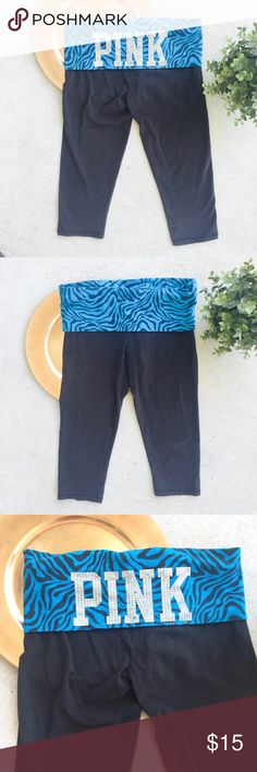 Victoria's Secret Love Pink Yoga Crop Pants Victoria's Secret Love Pink Yoga Crop Pants Fold Over Black Blue Zebra Bling  Small Preowned good used condition. Few silver bling missing from back. See pictures. PINK Victoria's Secret Pants Track Pants & Joggers
