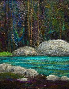 No.673 River Runs Too - Needlefelt Art 135.00, via Etsy.