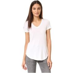 Cotton Citizen The Mykonos V Neck Tee ($80) ❤ liked on Polyvore featuring tops, t-shirts, bone, white jersey, white t shirt, short sleeve t shirts, v neck tee and white v neck tee