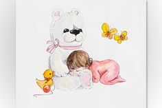 Check out Baby girl with big white teddy by maria.kytyzova on Creative Market
