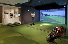 Indoor Golf Simulator  www.indoorgolfdesign.com #mancave #golf