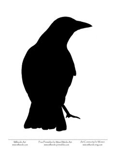 Crow Bird Stencil. Idea for a tattoo, maybe perched on a Mesquite.
