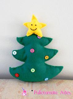 Árvore de Natal de feltro com botões /Christmas tree out of felt and buttons
