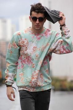 A floral mint green sweatshirt for men with beanie & half round sunglasses