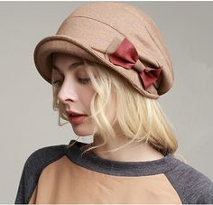 Fashion bow bucket hat for autumn womens elegant fisherman hat