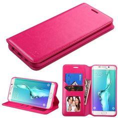 MYBAT Flip Stand Leather Wallet Galaxy S6 Edge Plus Case - Hot Pink