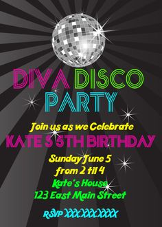 Disco Diva Party Printable Birthday by ashspartyinspiration, option for Will's dance party invite, minus the diva disco adding Will's Dance instead. And change pink to orange.