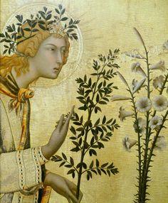 """Simone Martini, detalle de """"La anunciación"""" (1333) de Siena"""
