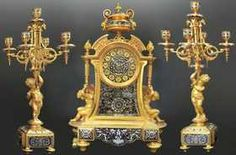 19th C French Champleve Enamel Figural Clock Set
