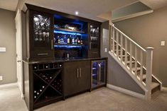 This bar packs a lot into an 8' wide space. Zebedee Home Renovation - contemporary - basement - calgary - Urban Abode