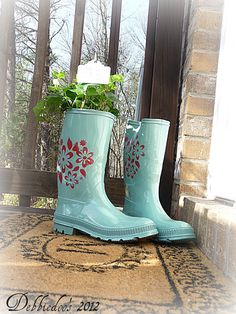 Garden boots repurposed.  Boys rubber boots #spray #painted and #stenciled