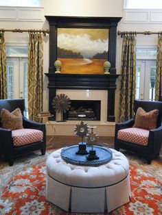 Mix-and-Match Patterns in Red Contemporary Living Room from HGTV