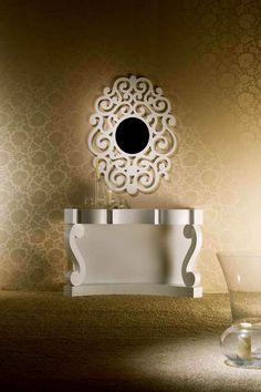 Espejos de diseño en madera modelo CASSANDRA Blanco Pequeño. Decoración Beltrán, tu tienda de espejo online.