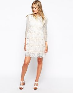 Enlarge Little White Lies Cutwork Lace Dress With Mesh Sleeves