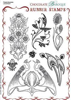 Fleurs Nouveau Unmounted Rubber stamp sheet - Rubber Stamps from Chocolate… Fleurs Art Nouveau, Motifs Art Nouveau, Art Nouveau Mucha, Motif Art Deco, Art Nouveau Pattern, Art Nouveau Design, Design Art, Motifs Organiques, Nouveau Tattoo