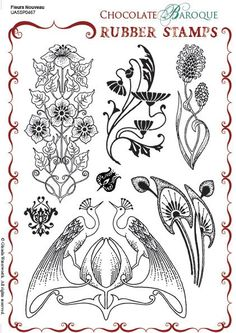 Fleurs Nouveau Unmounted Rubber stamp sheet - A5 Rubber Stamps from Chocolate Baroque.