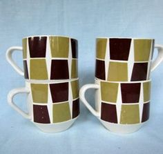 "Crown Lynn ""Trend"" Cups x 4"