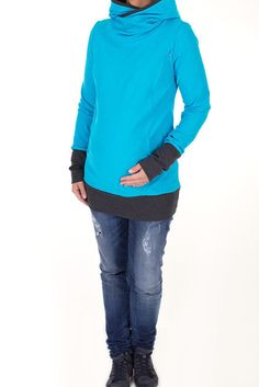 Viva la Mama   Maternity Hoodie COLORADO (turquoise). Hoodie for pregnancy, maternity, breastfeeding & everyday use.
