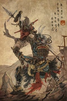 gomineko books hiroshi hirata 39 s mononofu amazing samurai illustrations images pinterest. Black Bedroom Furniture Sets. Home Design Ideas