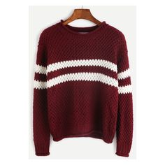Burgundy Striped Casual Sweater ❤ liked on Polyvore featuring tops, sweaters, striped sweater, red top, burgundy sweater, red sweater and striped top
