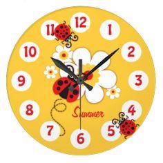 Kids ladybug & flower cute yellow girls wall clock by www.sarahtrett.com