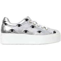 Kenzo Women 40mm Eyes Metallic Faux Leather Sneakers ($400) ❤ liked on Polyvore featuring shoes, sneakers, silver, kenzo, vegan leather shoes, kenzo shoes, vegan sneakers and vegan shoes