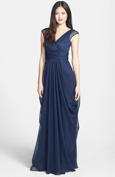 Lela Rose Bridesmaid Drape Crinkled Chiffon Gown, Grecian-inspired splendor defines this gorgeous crinkled-chiffon gown that features an elegant surplice neckline, flattering ruched waist and extravagantly draped full-length skirt. Dark Purple Bridesmaid Dresses, Bridesmaid Dresses Under 100, Bridesmaid Gowns, Bridesmaids, Mob Dresses, Formal Dresses, Bride Dresses, Cotillion Dresses, Party Dresses