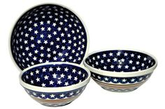 Stars & Stripes 3 Piece Serving Bowl Set