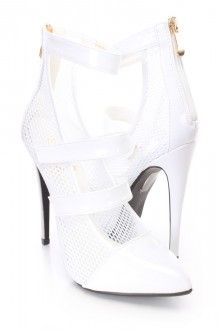 White Netted Strappy Single Sole Heels Patent
