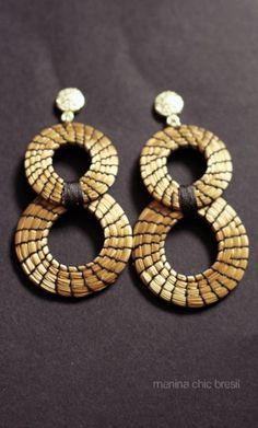 Boucles Oito Noite capim dourado or végétal bijoux brésiliens équitables  www.meninachicbresil.com