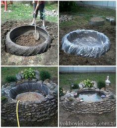 Lastikten küçük bir havuz yapımı
