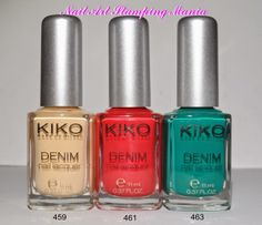 Nail Art Stamping Mania - Kiko Denim Nail Lacquers Review and swatches: 459 Woodstock Cream, 461 Art Poppy Red and 463 Evasion Lawn Green http://nailartstampingmania.blogspot.it/2014/04/kiko-denim-nail-lacquer-review-part-2.html