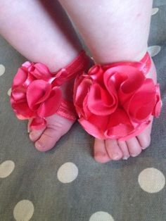 Coral Satin Flower Baby Barefoot Sandals by Polkadotologie on Etsy, $10.00